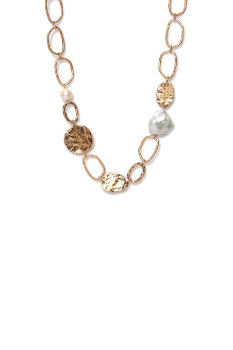 PEARL & CHAIN GOLD NECKLACE